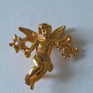 Cherub Angel goldtone vintage brooch